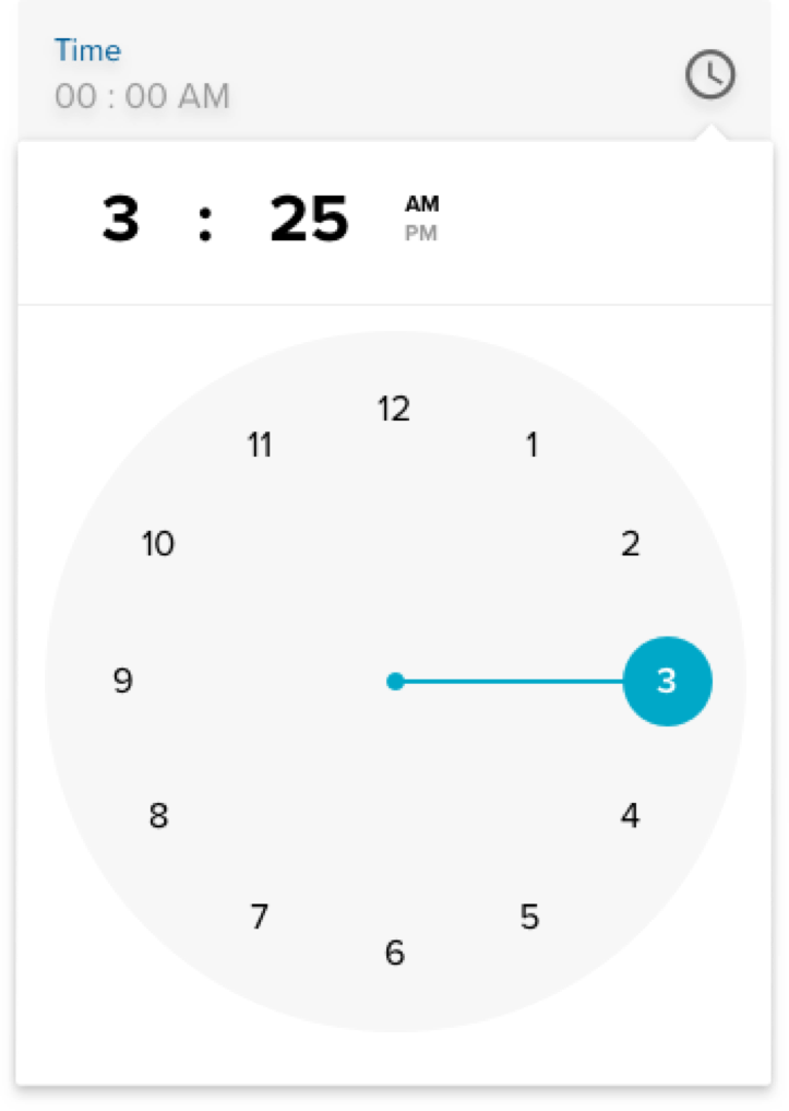 Image 6: Alternate display for a component that allows users to input a time.