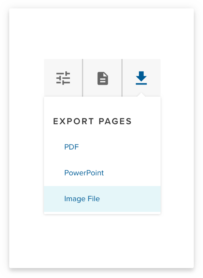 Image 9: Quick access menu with dropdown options for file export.