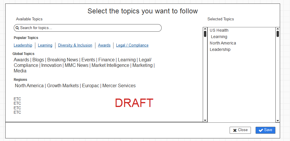 A wireframe for our topic picker modal. Created by my colleague Mike Moore.