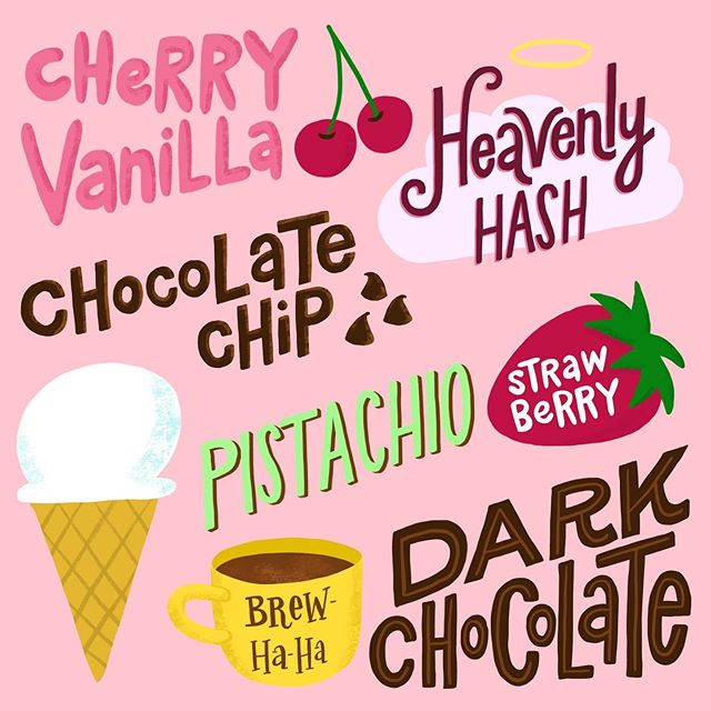 I was feeling a little stuck so I tried lettering my favorite ice cream flavors. Then I found out that yesterday was #nationalicecreamday so I felt I had to share it. What are your favorite flavors?