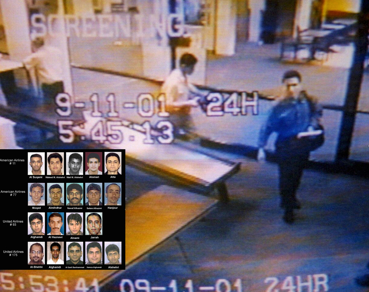 Hijackers Mohamed Atta, right, and Abdulaziz Alomari, center, pass through airport security in Portland, Maine, early on the morning of September 11, 2001, in this photo from the airport surveillance tape. (INSET: Images of the hijackers arranged by the flights they commandeered, released by the U.S. Justice Department.)