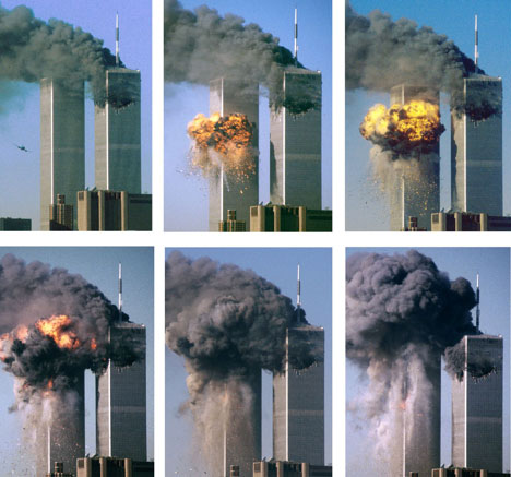 This series of photographs shows hijacked United Airlines Flight 175 as it approaches and strikes the World Trade Center's South Tower (L). A gaping hole in the North Tower (R) is the result of the earlier crash of American Airlines Flight 11. (Sean Adair/REUTERS)