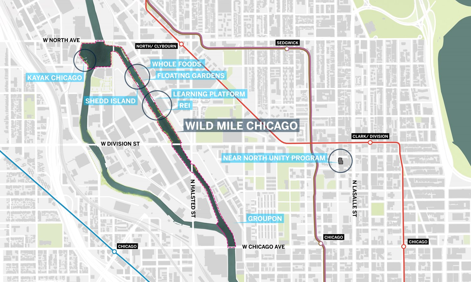 Wild Mile Chicago - Wild Mile Chicago will be a floating eco-park located on the North Branch Canal of the Chicago River, a manmade channel along the east side of Goose Island between Chicago Ave and North Ave.
