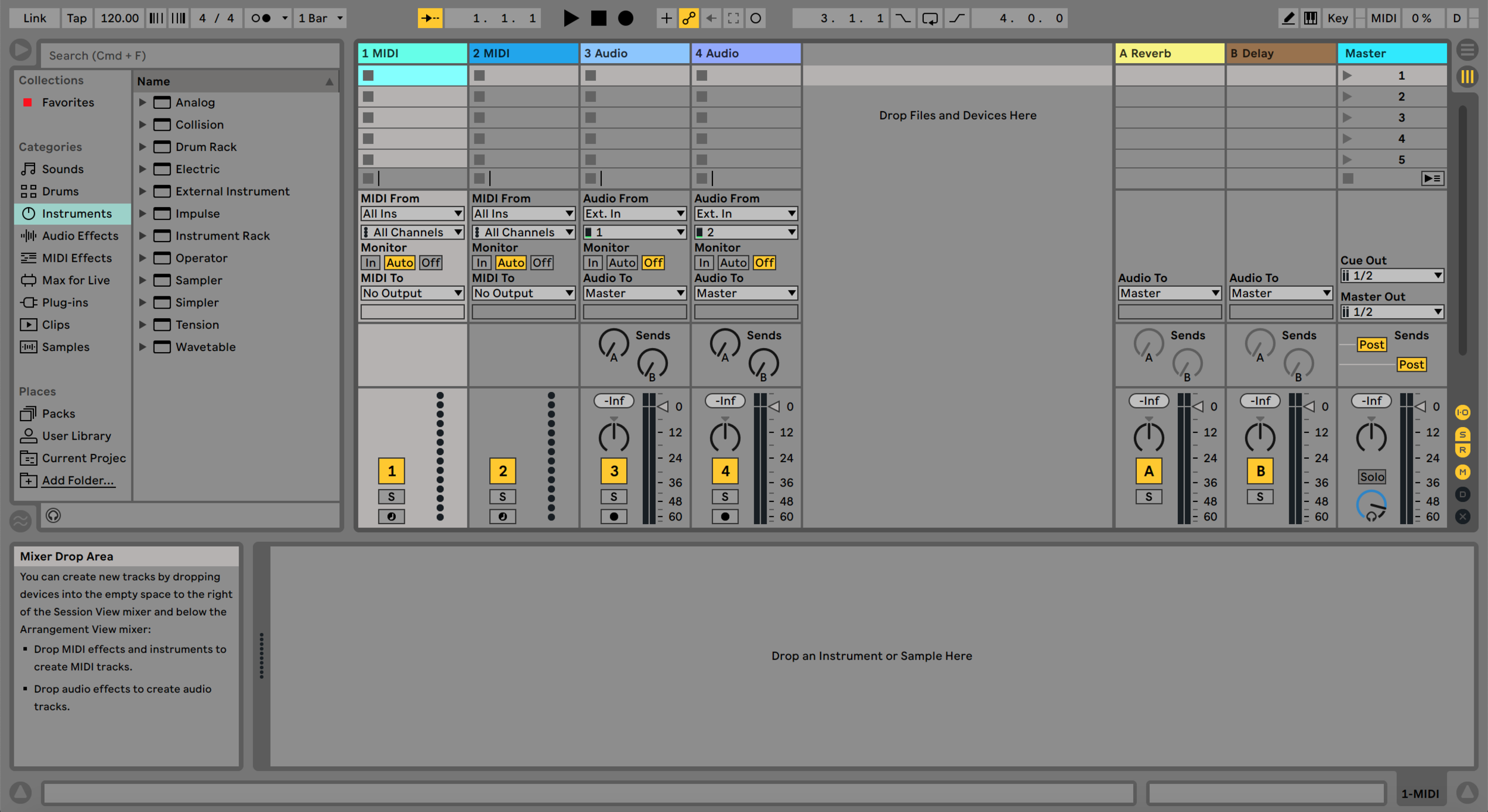 A typical Ableton screen in arrangement view.  Issues with screen clutter, contrast, eye strain and visual hierarchy were reported by users.