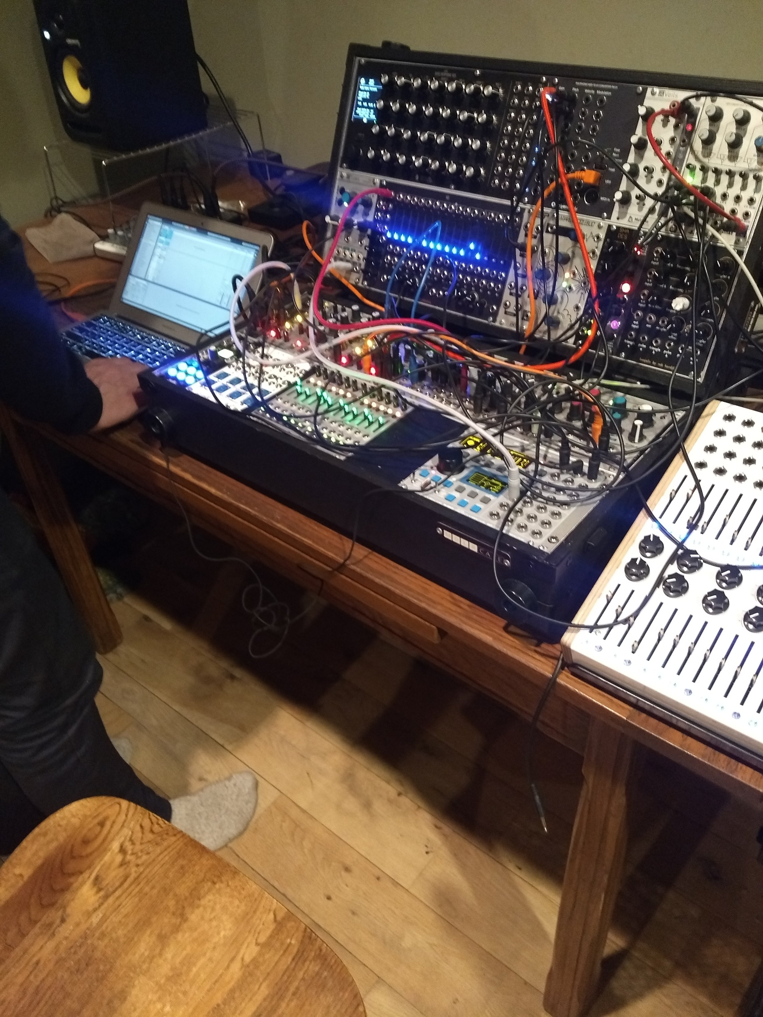 Tim, a modular synthesizer musician, uses Ableton for signal processing.