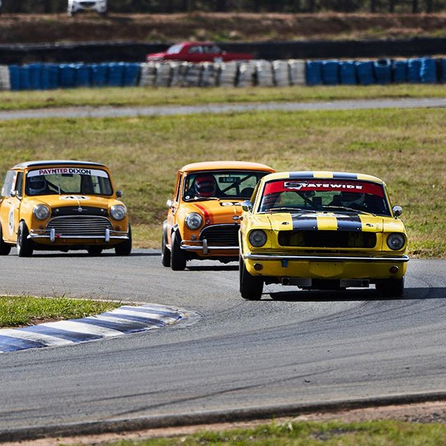 Minis love to chase down a Mustang on the race track #musclecars #cars #coolcars #morrismini #mustang #fordmustang #fordmuscle #historicsportscarracing #classiccars #wakefieldpark #racecars