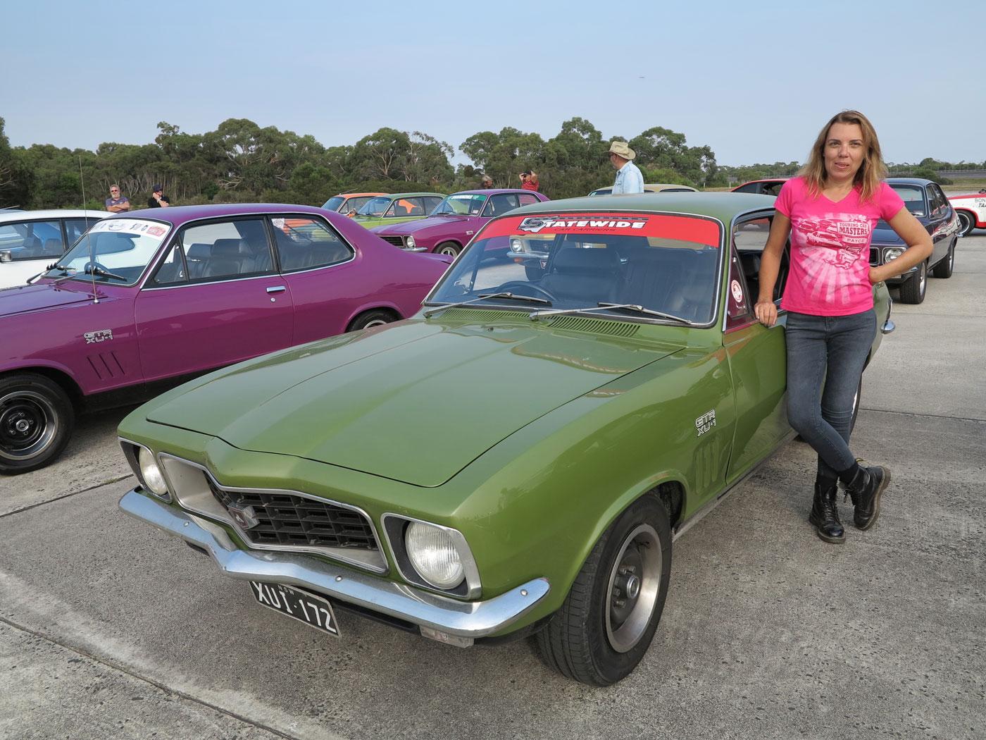 Liz with her XU1 Torana at Lang Lang Proving Ground.