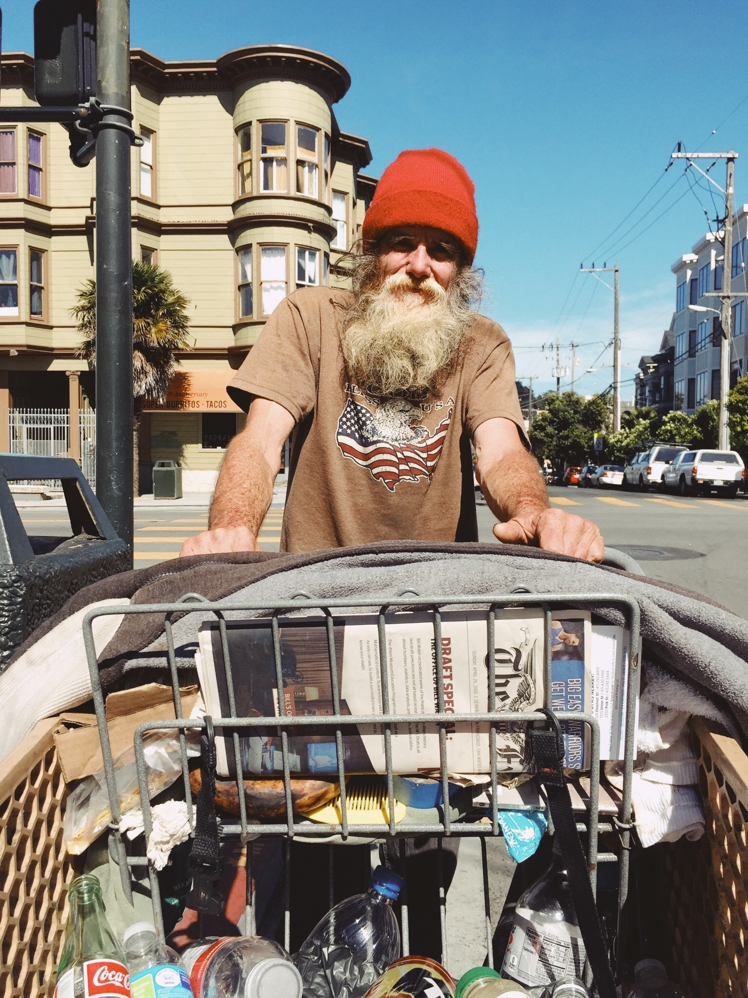 Laid out on blankets and sheets, assembled in cardboard boxes and trundled in pirated shopping carts, is the inventory of San Francisco's other entrepreneurial class: the recyclers, reclaimers, and miscellaneous retailers who make their living on the street many of whom absorb the aftershocks of true disruption. -