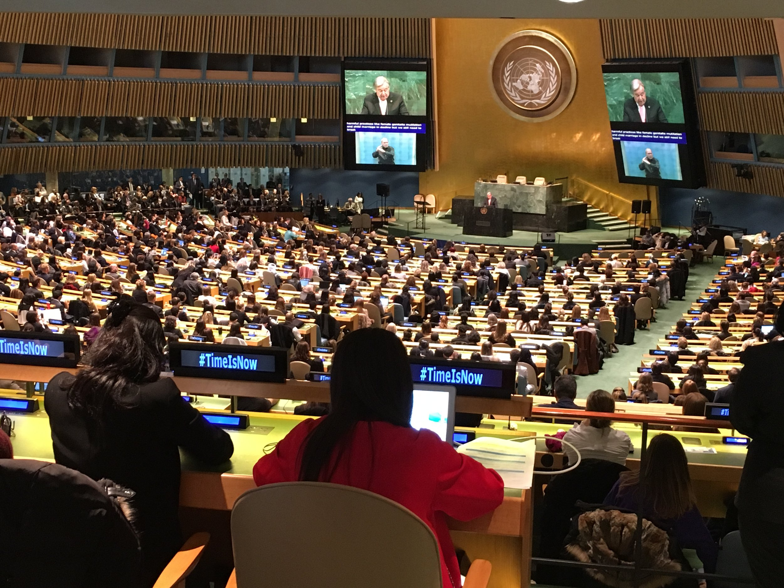 UN Secretary General António Guterres addressing the importance of IWD at the General Assembly in New York on March 8th 2018. Picture: Ludovica Martella