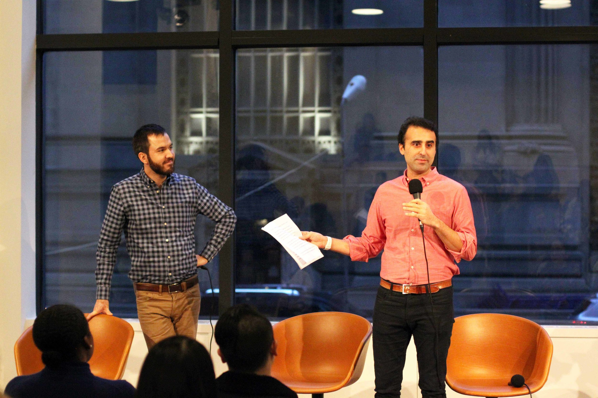 Matt Harrigan (left) co-founder and CEO of Company and Alexi Nazem (right) with co-founder and CEO of Nomad open the event. Picture: Nick Weinberg