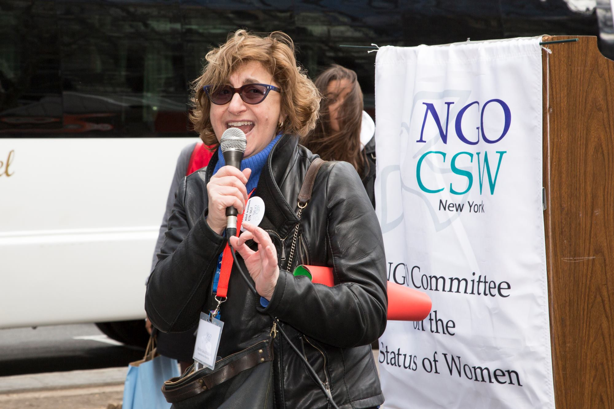 Houry speaking on behalf of NGO CSW NY in New York City.