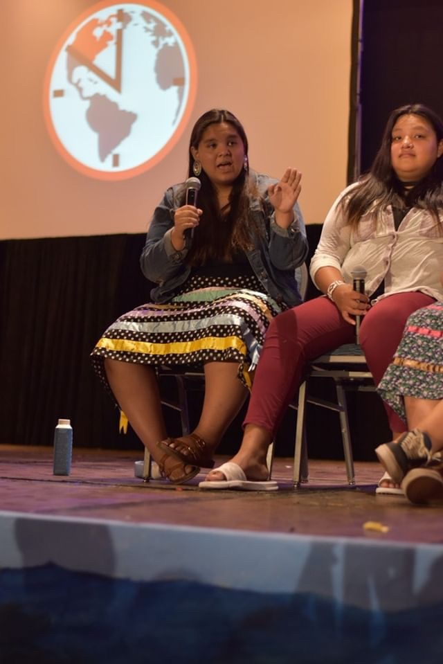 Tokata Iron Eyes, a young activist from the Standing Rock Sioux tribe speaks at the Zero Hour Miami Summit.  Photo: Paula Mitre