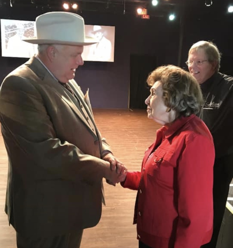 Actor, retired teacher and BISD school board member Kelvin Dilks meets the legendary TV reporter Bobbie Wygant, who gave his performance of Amon Garter her blessing. Wygant began working for Carter at Channel 5 in 1948 when the station first went on the air.