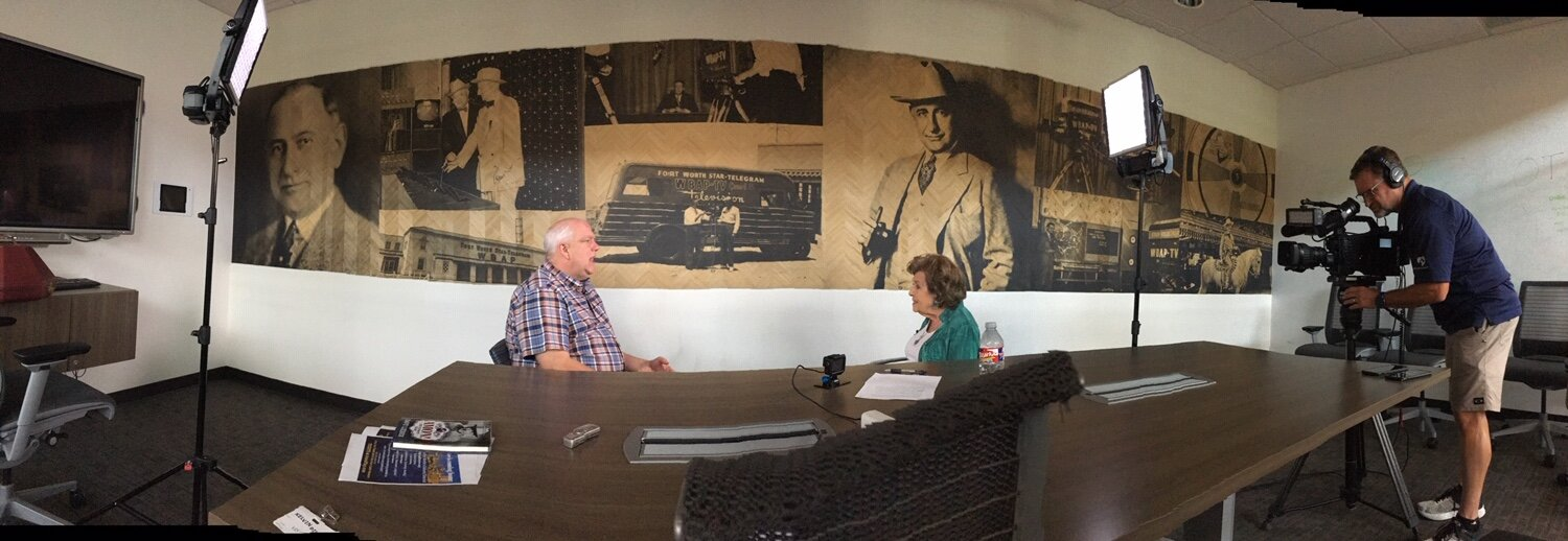 Actor Kelvin Dilks and playwright Dave Lieber were interviewed by Bobbie in the Amon Carter Conference Room at NBC5 which is located on — where else? — Amon Carter Boulevard.