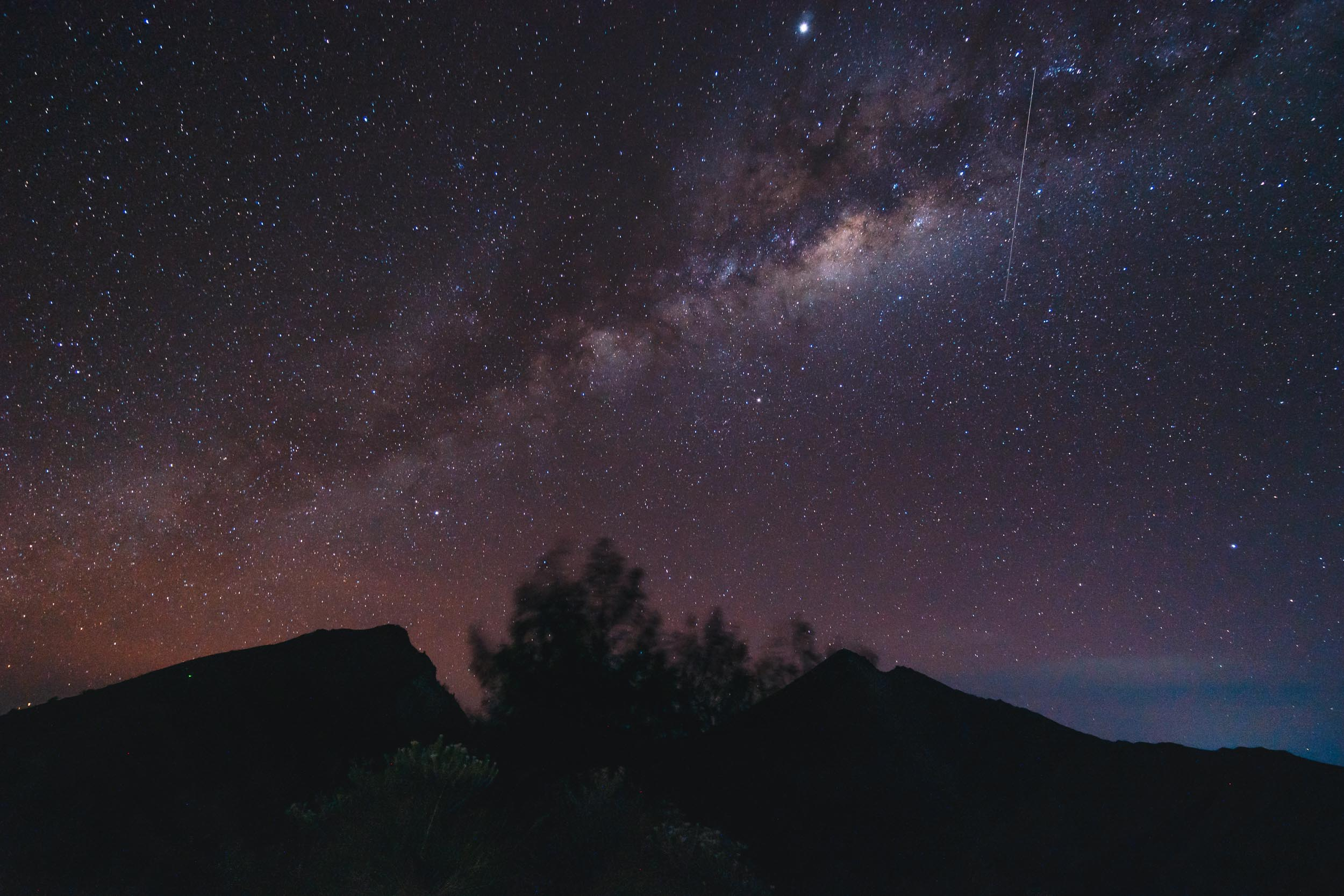 The Milky Way over the crater rim