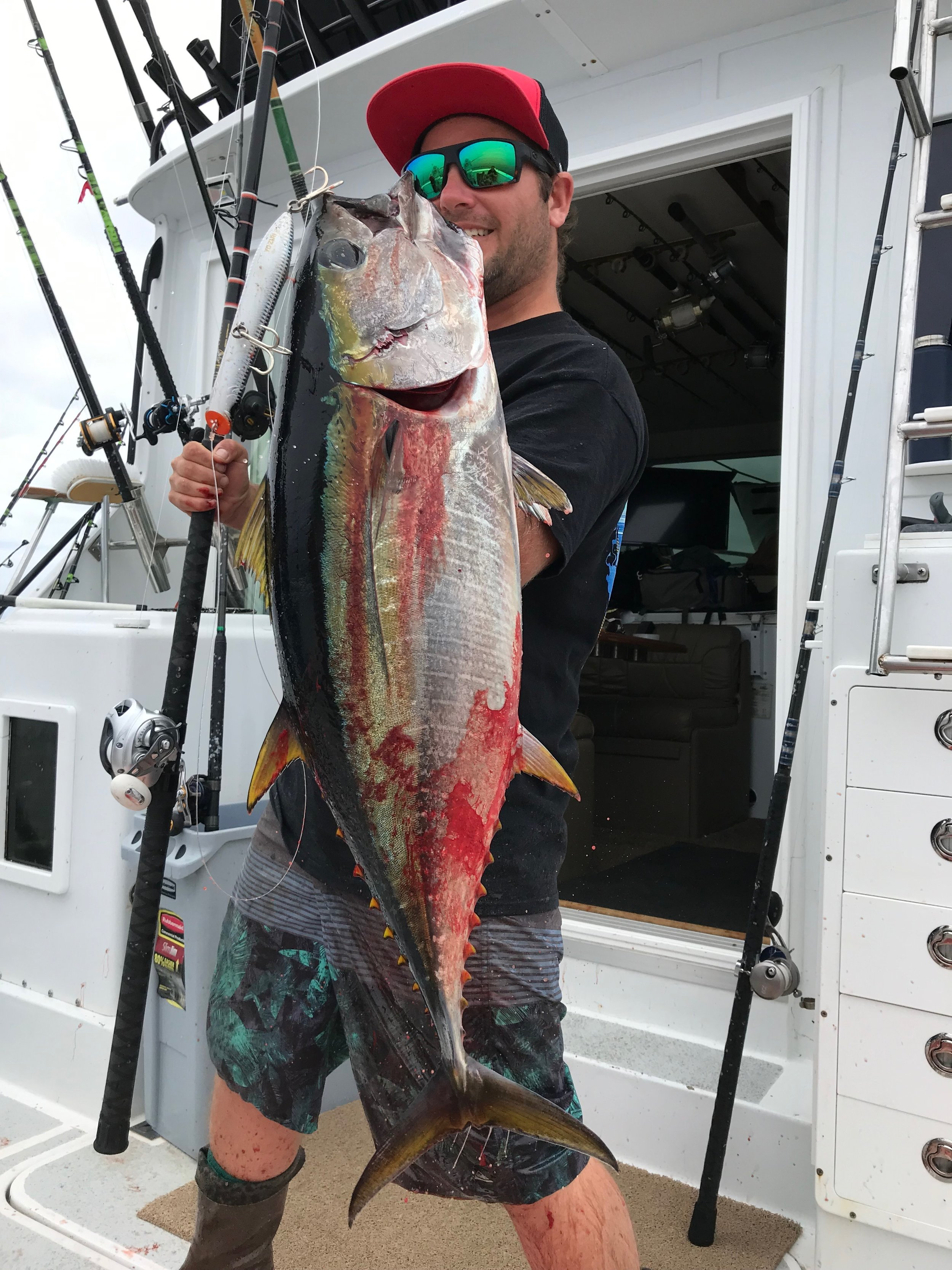 - 6-25-2019Capt James Santos managed a few Yellowfin Tuna on the popper for his efforts!