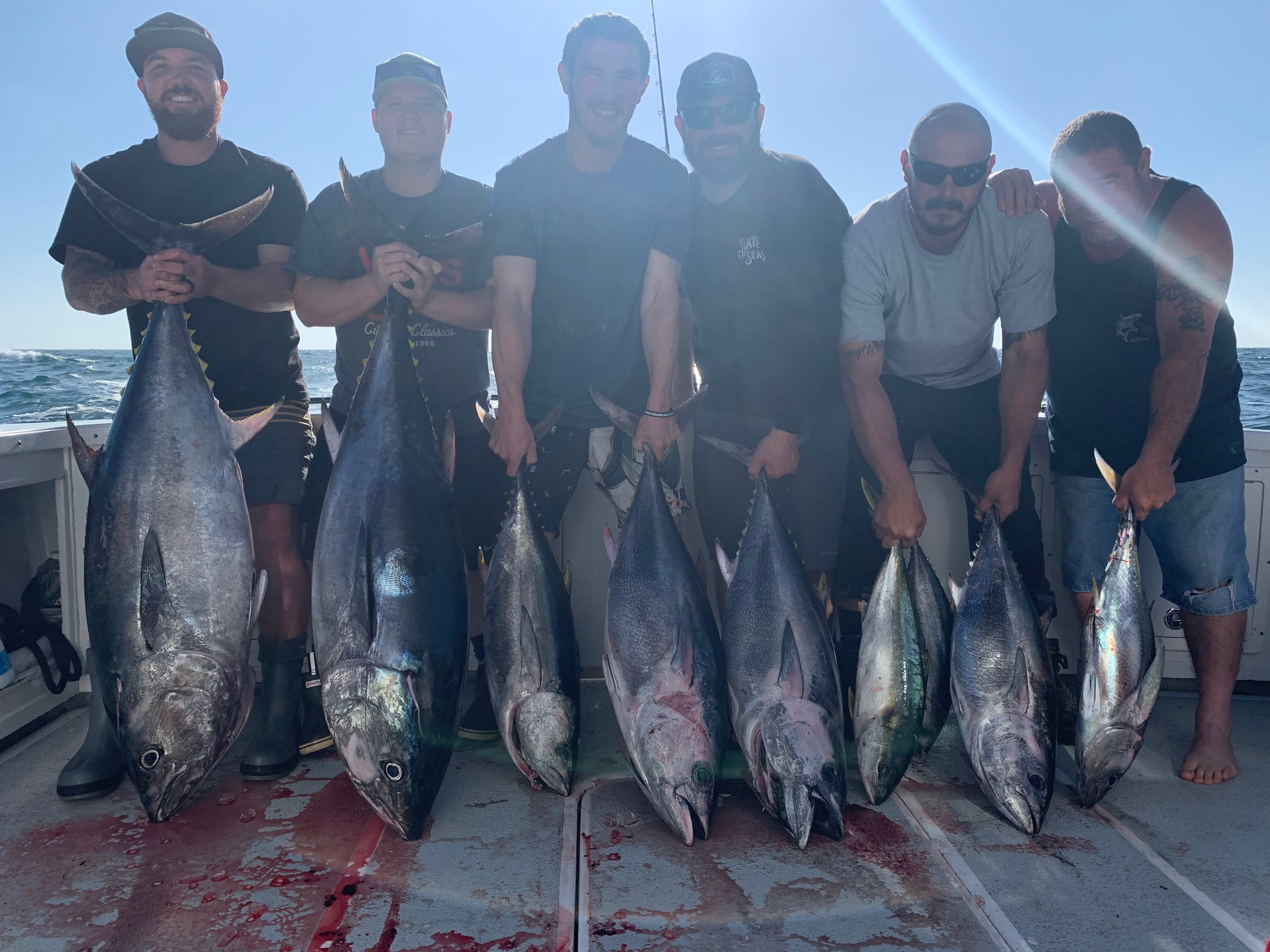 - June -30- 2019After the smoked cleared the boys ended up with a beautiful catch of Bluefin Tuna, Yellowfin Tuna, and Yellowtail up to 100 lbs for their trip!!!!!