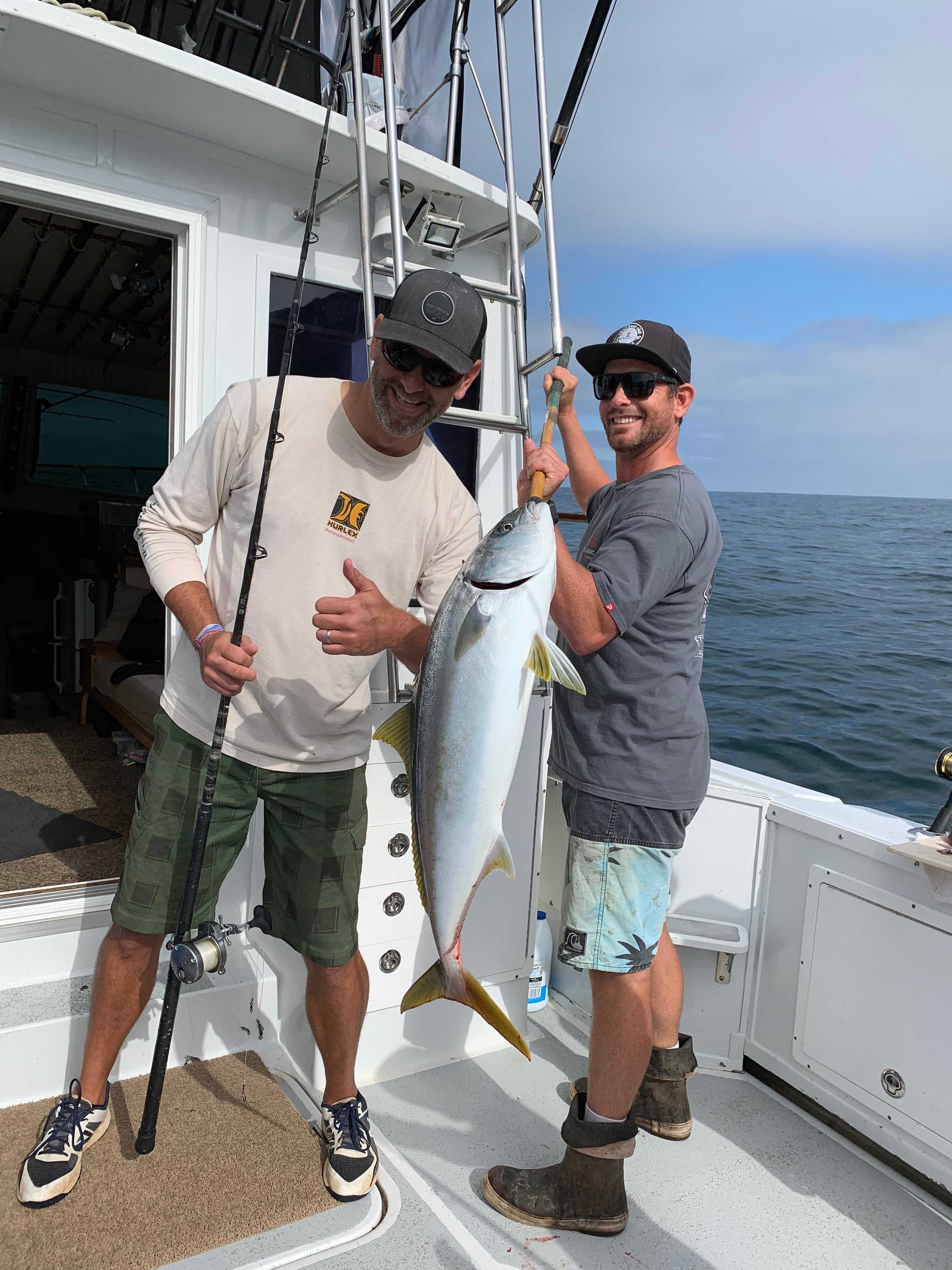 - August-8-2019While the kids were picking away at the bottom fish Dad fly-lined a sardine and caught a Nice Coronado Island Yellowtail!