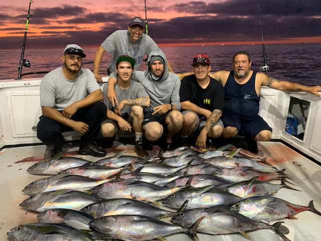 - August-24-2019Our two day did not disappoint as we had a stellar sun-downer bite for LIMITS of Nice grade Yellowfin Tuna. Day two was fun filled with trophy BluefinTuna to 60LBS!!