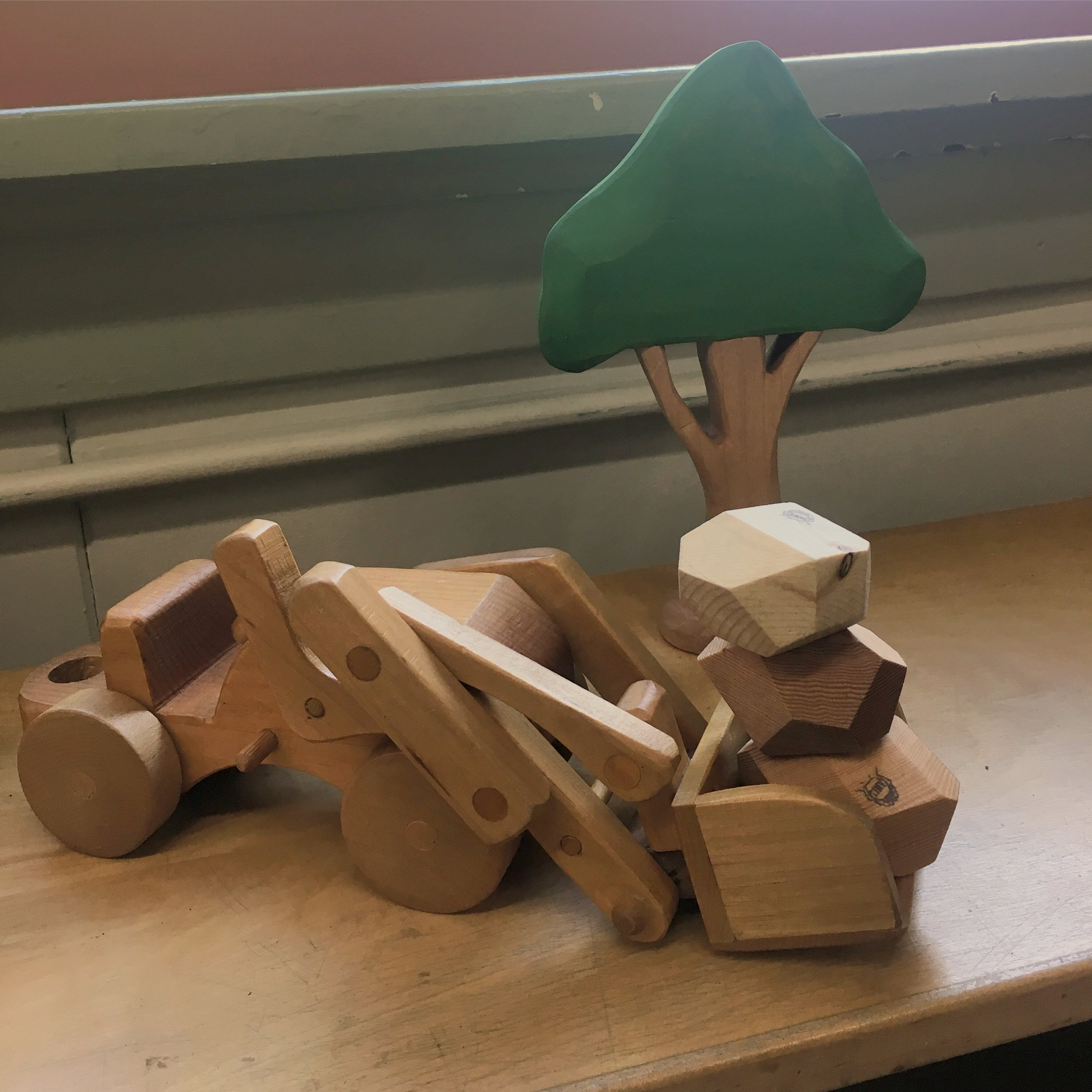 Natural blocks make great stones for little ones who love diggers and haulers