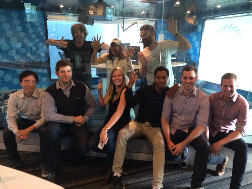 The Omny Studio team at Southern Cross Austereo in Melbourne visiting the Dan and Maz show