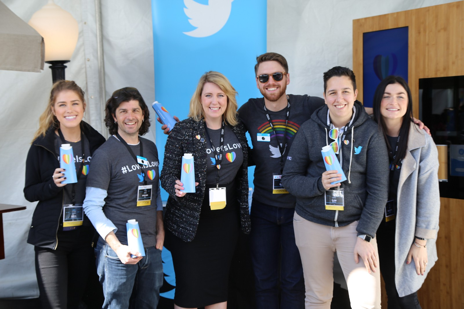 Twitter employees showcasing Drop Water at the Lesbians Who Tech summit
