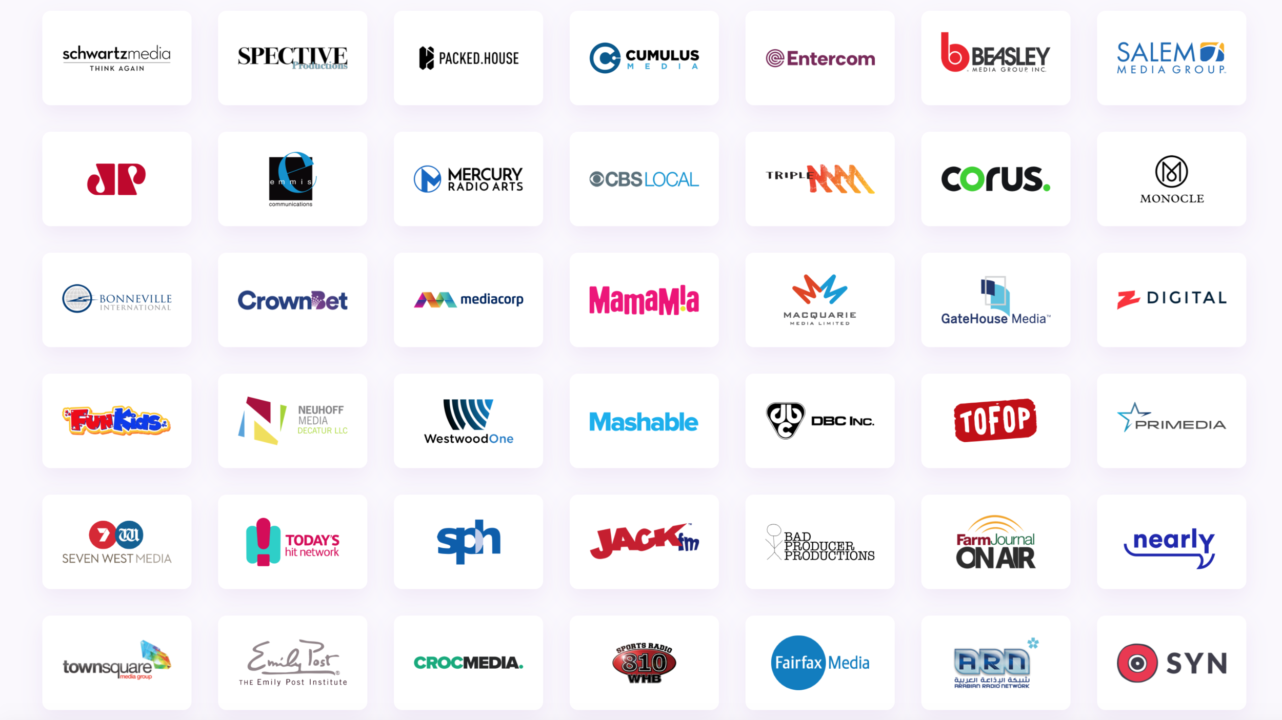 Some of the many Customers who use Omny Studio every day.