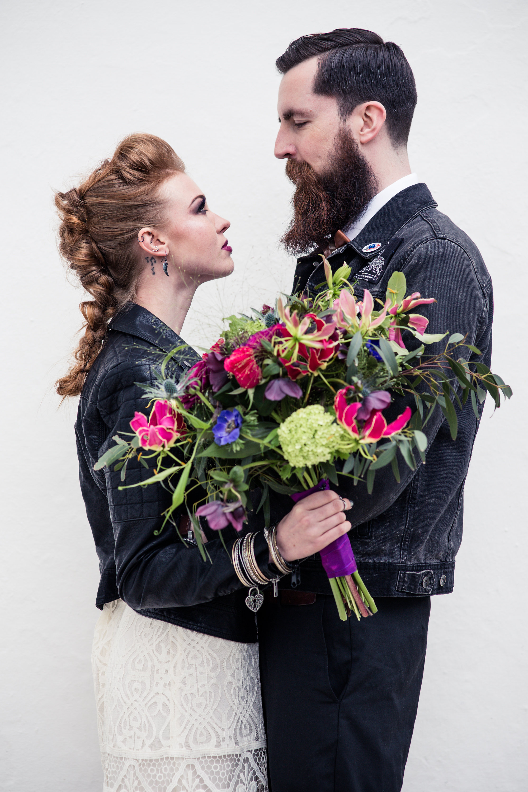 Photography: Jewell | Styling: Christine at Rock Hard Nails | Make Up: Kim Berridge | Hair: Victoria Wollin & Ben Drewry | Jewellery: ElementIsle | Flowers: Heidi at The Flower Studio | Models: Sophia Russell & Tony Weir