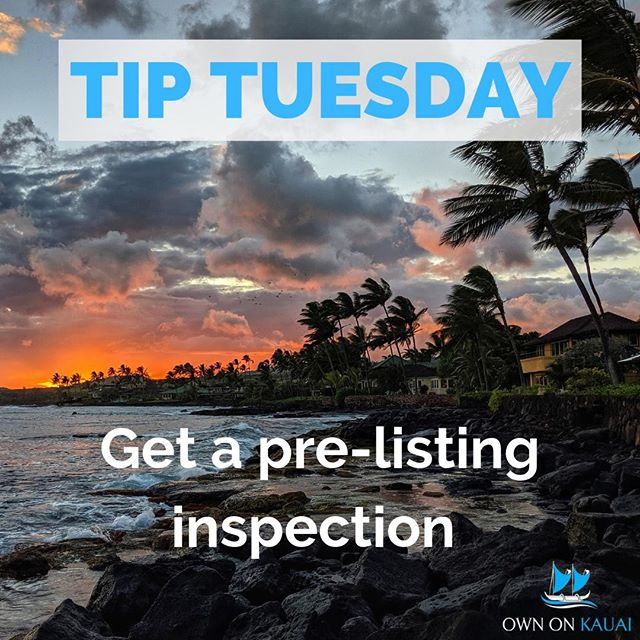  ~Own On Kauai's Tip Tuesday~  Hammering home the points made in my video yesterday, here are some of the reasons why you, as a seller, would want to spend money on a pre-listing inspection:  1) Advance Notice. You will know your houses problems before the future buyer finds them during their inspection period, which gives you time to make repairs (or at the very least gives you leverage during contract negotiations)  2) Choice on contractors. You have time to shop around on price and quality instead of scrambling last-minute to find someone who can do the job. Here on Kauai especially.   3) You can do it yourself. Some of these minor projects can be done yourself instead of being forced to pay for a professional light-bulb fixer during escrow. Time to make those repairs you've been putting off for the last few years.  4) To fix or not to fix. If you don't want to fix that bathroom floor, that's fine, you can just reduce the listing price instead of trying to make all these repairs yourself.  Don't let the sale of your home get derailed at the last minute - spend a few extra dollars and give yourself the peace of mind knowing that your home is ready to go.  #kauairealestate #kauairealtor #kauai #ownonkauai #ownonkauairealestate #alohalife #islandlife #islandliving #kauaisouthshore #poipu #homeinspection