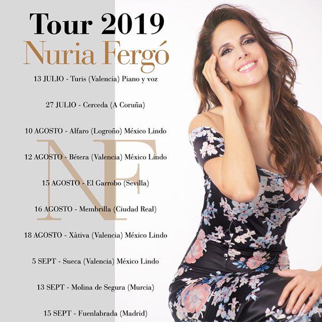 ¡El verano imparable de @NURIA_FERGO ! Os dejamos con las fechas confirmadas para los próximos meses. 💃🏼🎶  #NuríaFergó #Tour2019 #Verano #Conciertos #HerediaProducciones