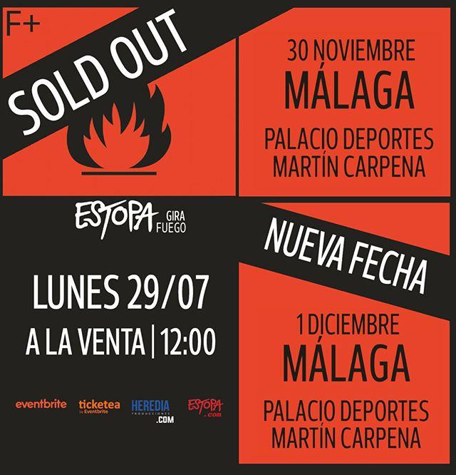 ¡Ya están a la venta las entradas de la SEGUNDA FECHA para ver a @estopaoficial en Málaga 🔥!  🎟️👉🏻 LINK EN BIO  #Estopa #GiraFUEGO #HerediaProducciones #Málaga #NuevaFECHA