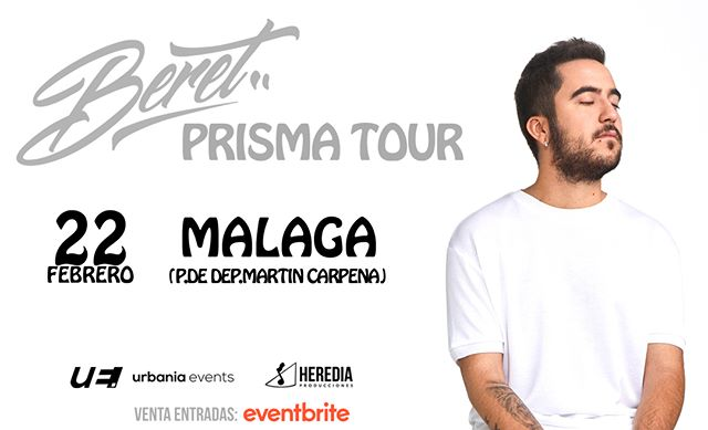 ¡Ya están a la venta las entradas de @Beret1996 en Málaga! No te quedes sin ver el Prisma Tour el 22 de febrero en el Palacio De Deportes Martín Carpena.  🎟👉 LINK EN BIO  #Beret #PrismaTour #HerediaProducciones #Concierto #Málaga