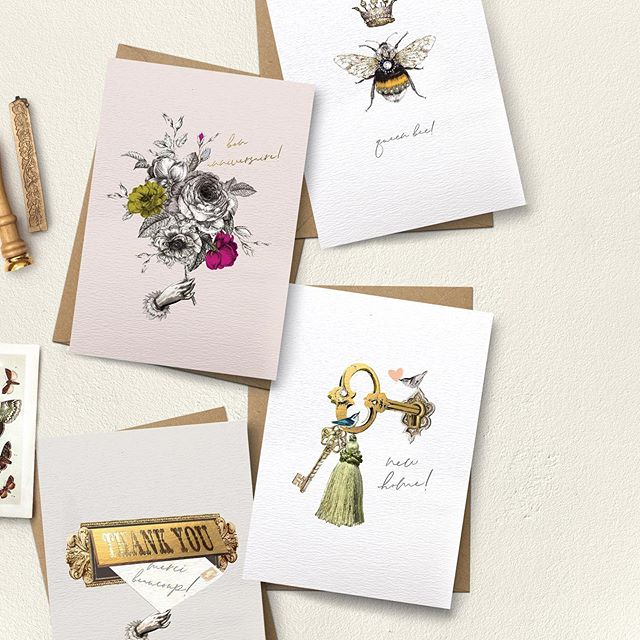 Introducing the new 'Treasured' collection. I'm so thrilled at how well these went down at the @homeandgiftharrogate show, especially the little bee card! Inspired by Victorian ephemera and delicate floral detail. Illustrated by hand and foil stamped on our foil press for extra tactile loveliness. Available to trade customers now on my website www.stephaniedavies.co.uk #greetingcards #greetingcard #homeandgift #independentshops #shopindependent #illustration #floral #victorian #art #foilstamping #smallbusiness #creativebusiness #illustrator #savethebees #bee #bees