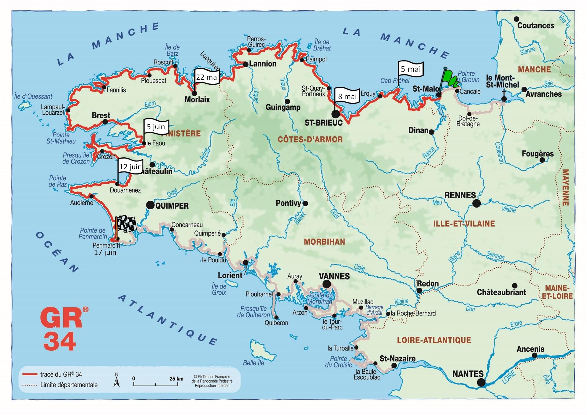 Crédit photo :  Fédération Française de Randonnée . En rouge : mon parcours, en gris : le reste du GR (ce sera pour une autre fois …)