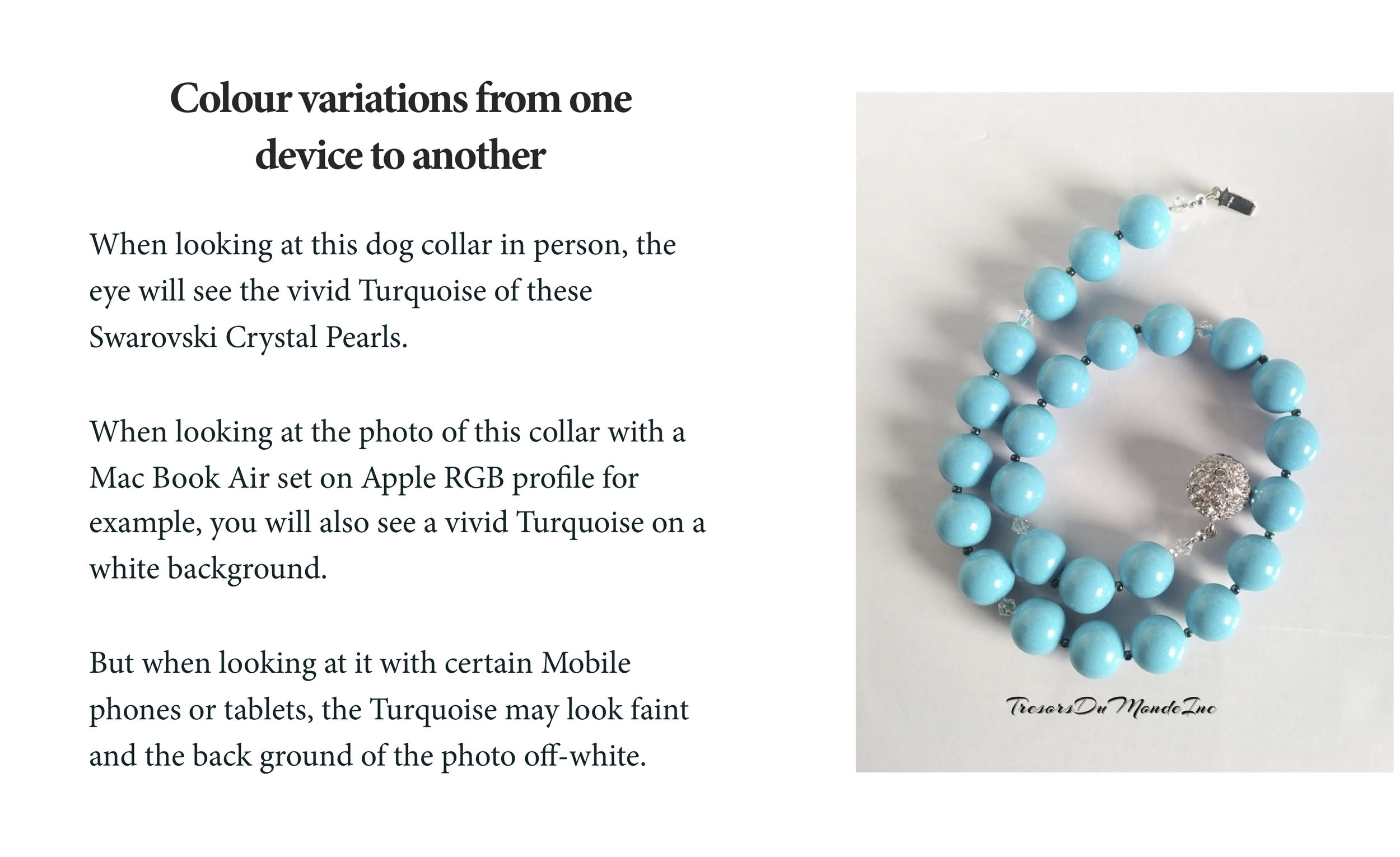 P.S.: Turquoise is the name of the colour given to these Crystal Pearls by Swarovski