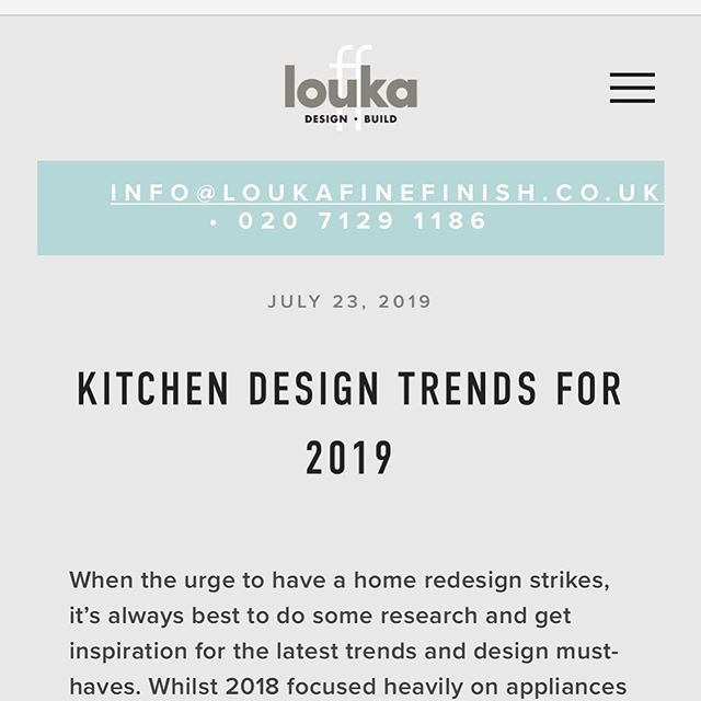 check out our new blog page - we'll be posting 1 to 2 times a week from now on https://www.loukafinefinish.co.uk/blog/2019/7/23/kitchen-design-trends-for-2019