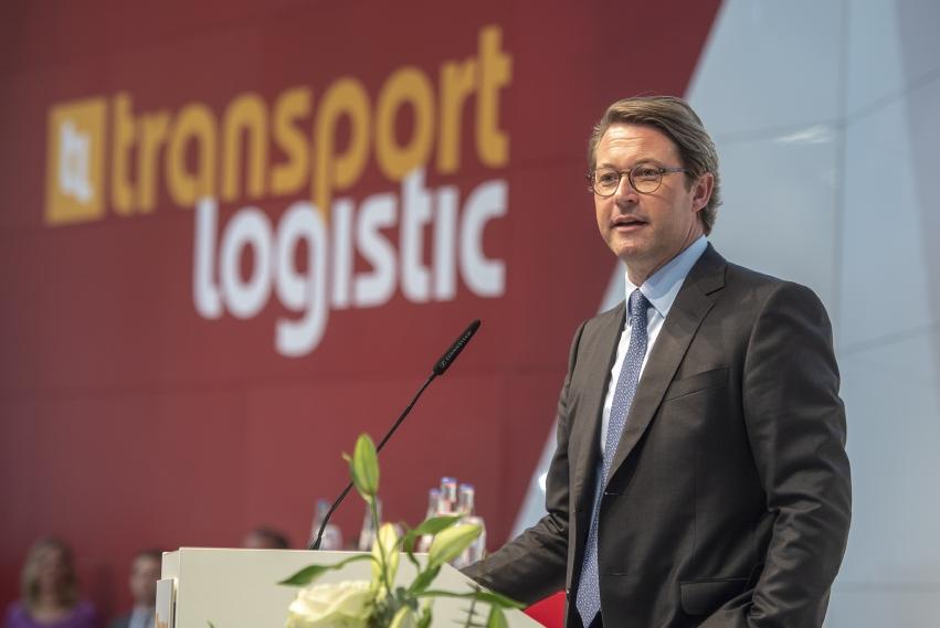 Bundesverkehrsminister Andreas Scheuer auf der transport logistic 2019 (Bild: Messe München)