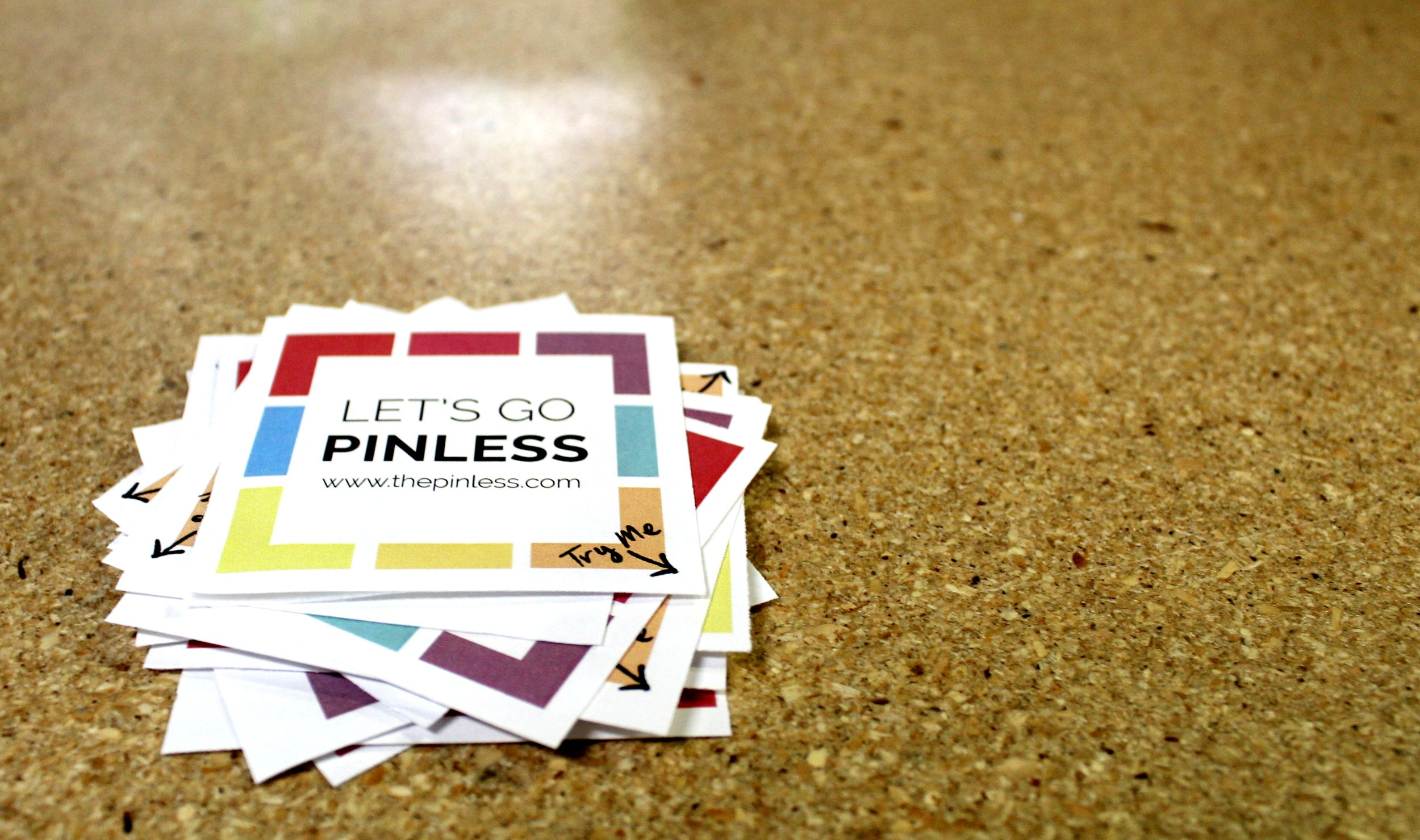 The Pinless stickers printed on Pinless Pics Matte photo paper.