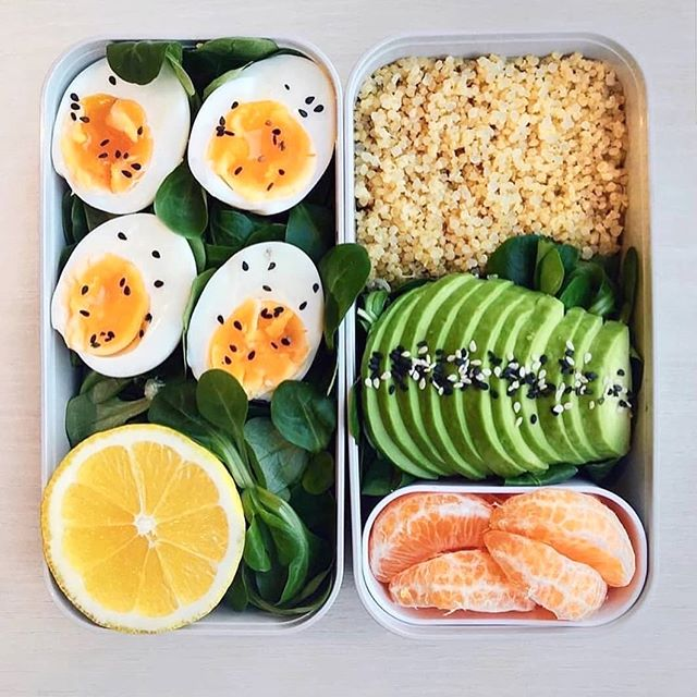 One of the best ways to stay accountable for eating well and nourishing your body is meal planning & prepping. I find having a few options which I can rotate throughout the week is a great way to stay on track. This Veggie Lunch Box is a personal favourite of mine and show's it doesn't have to be fancy or time consuming to eat well.  Eggs & Avocado - roughly360 - 400 Calories.  Spinach leaves topped with soft-boiled eggs (6 mins) white quinoa, avocado slices, sesameseeds and a tangerine for desert. (Olive oil and lemon juice as a dressing) What is your go-to lunch? 😋 . . #EatThink #LiveWell #wellness #fitspo #dairyfree #nondairy #almondmilk #Breakfastrecipe #veganbreakfast #superfoodsmoothie #wellbeingintheworkplace #onthegobreakfast #lfa #milk #eats #healthyeats #HappinessLiving #HappinessSpirit #HappinessWelfare #BalanceLifestyle #BalanceLiving #BalanceSpirit #BalanceWelfare#BestOfTheDay #InstaHealth #LifestyleCoach