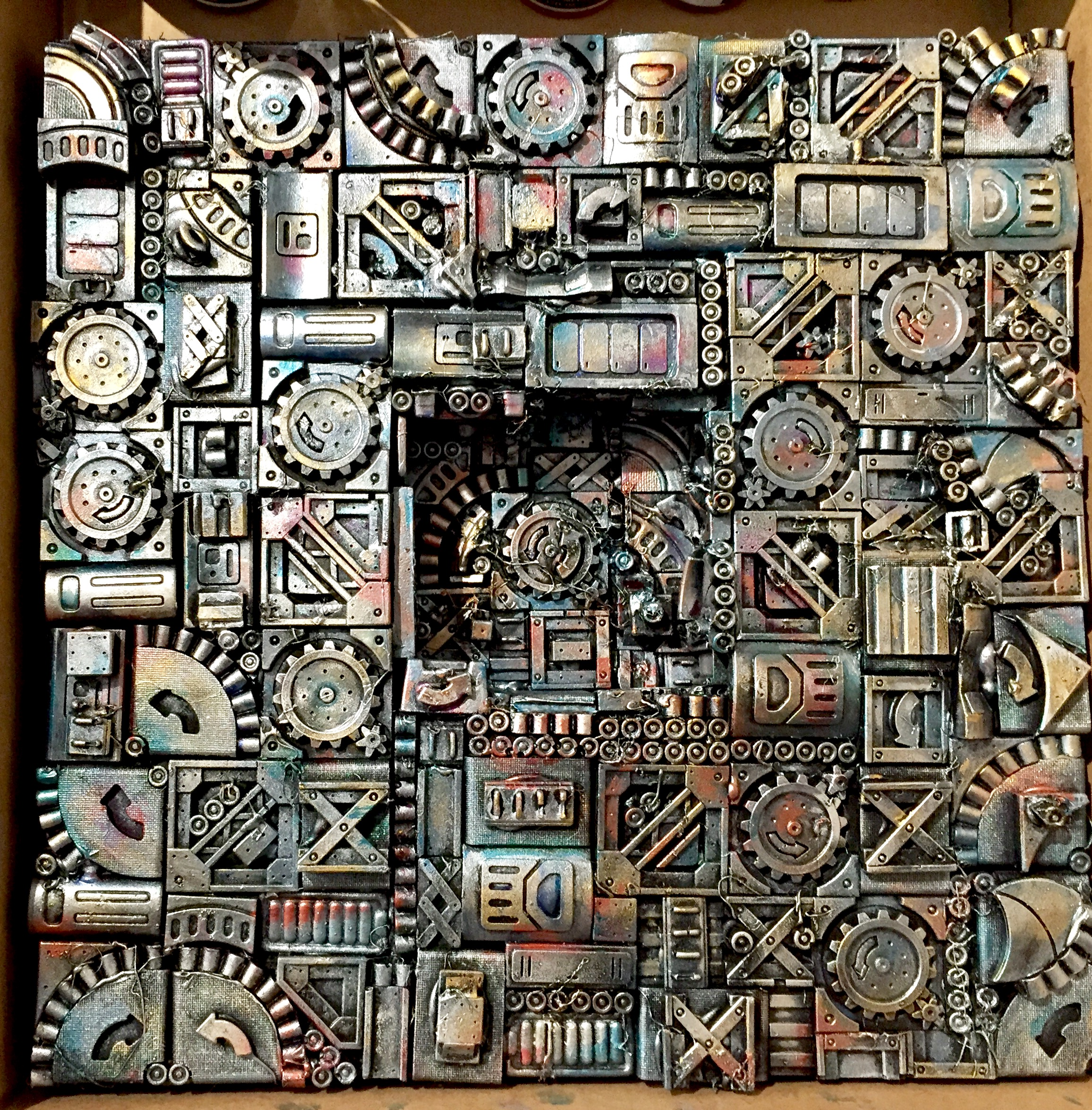 "Clockwork. 3D mixed media on canvas  Acrylic on die stone, 12""x 12"""