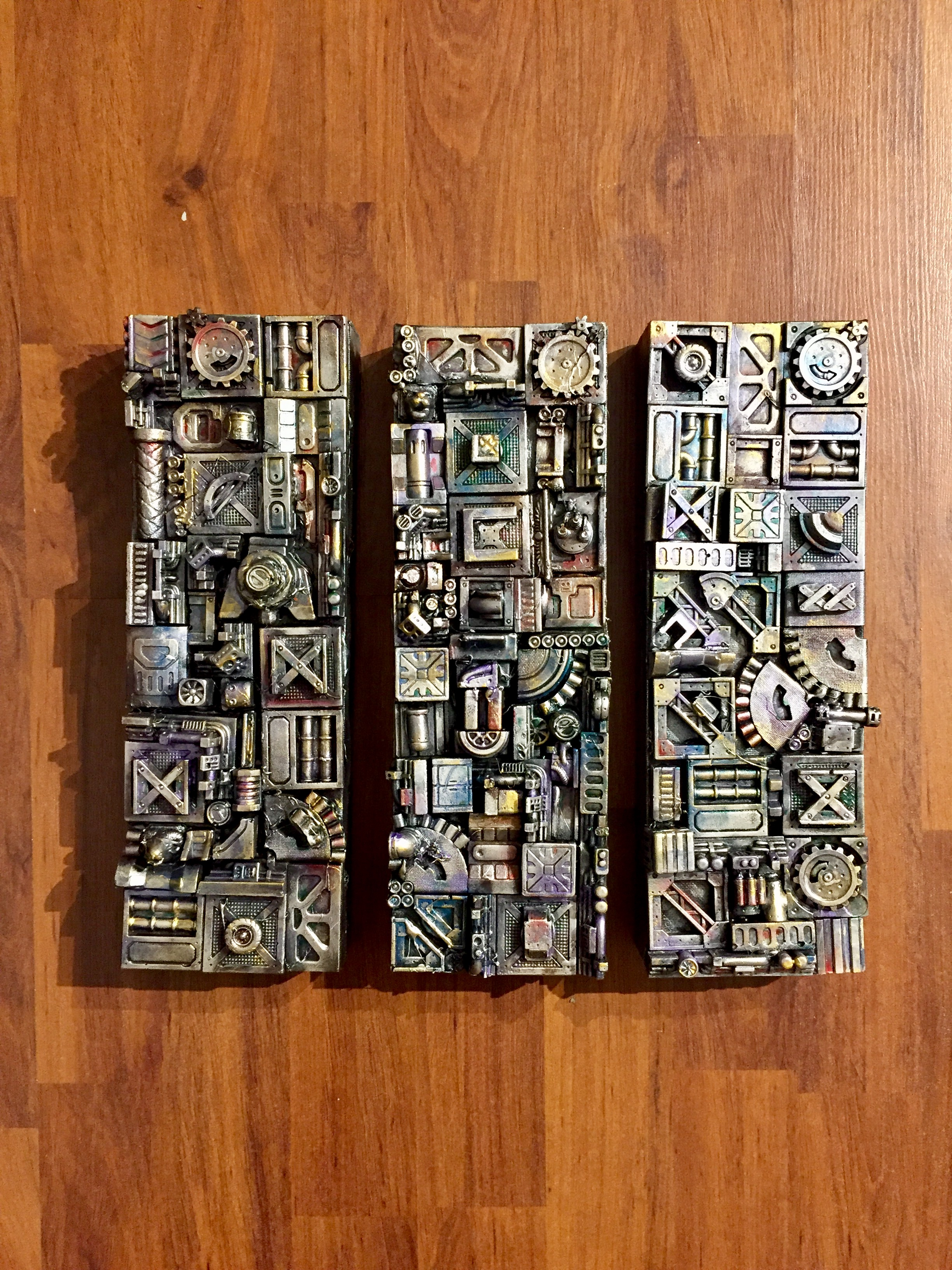 "3D mixed media on canvas  Acrylic on die stone, 3 panels - each is 4""x 12"""