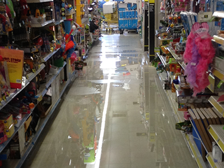 Water Damage on an aisle in a store