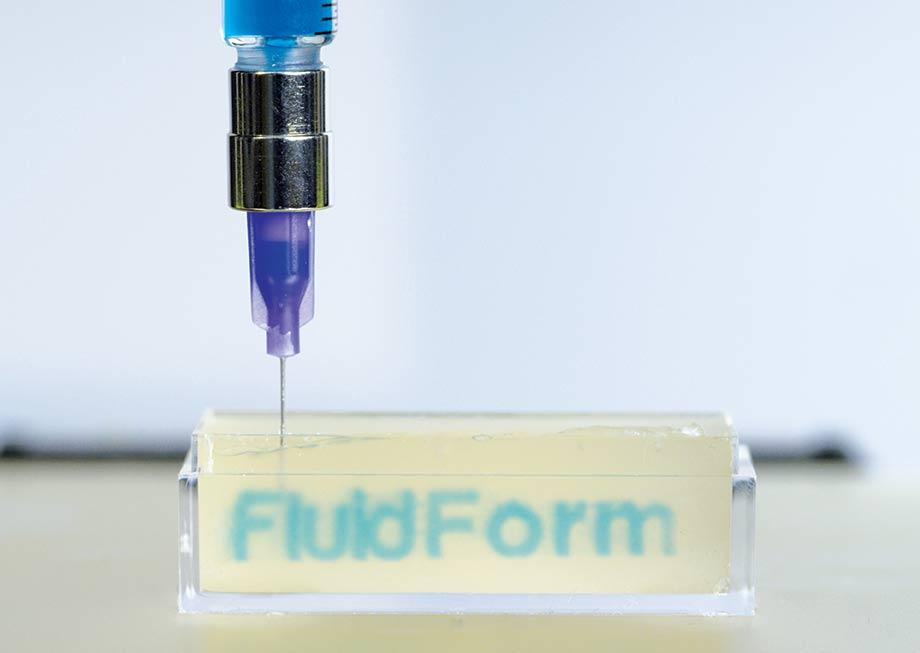 3D Printing of FluidForm Logo in Gel