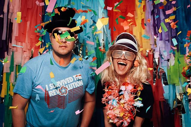 Yes, there was confetti ingested in the making of this photo.  #faroutphotobooths