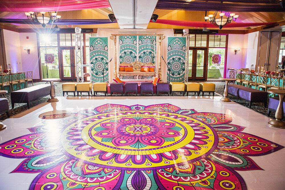 Paras-Events-Traditional-Colourful-Sangeet-Rangoli-Lounge-Rattlesnake-Point-Golf-Club-1.jpg