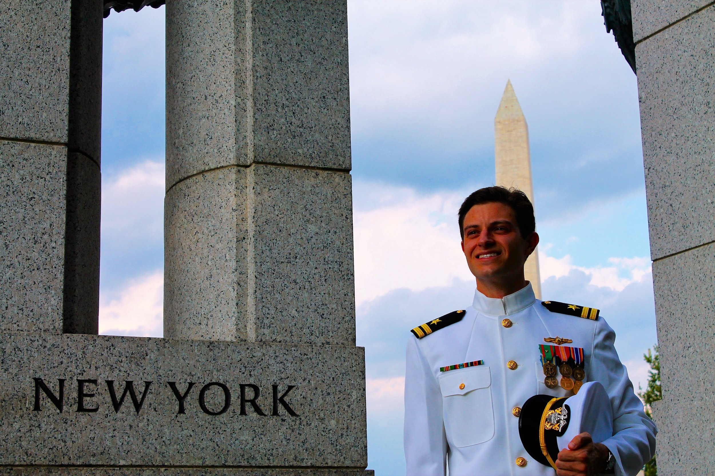 Nathan in Navy Uniform between deployments in Washington D.C.