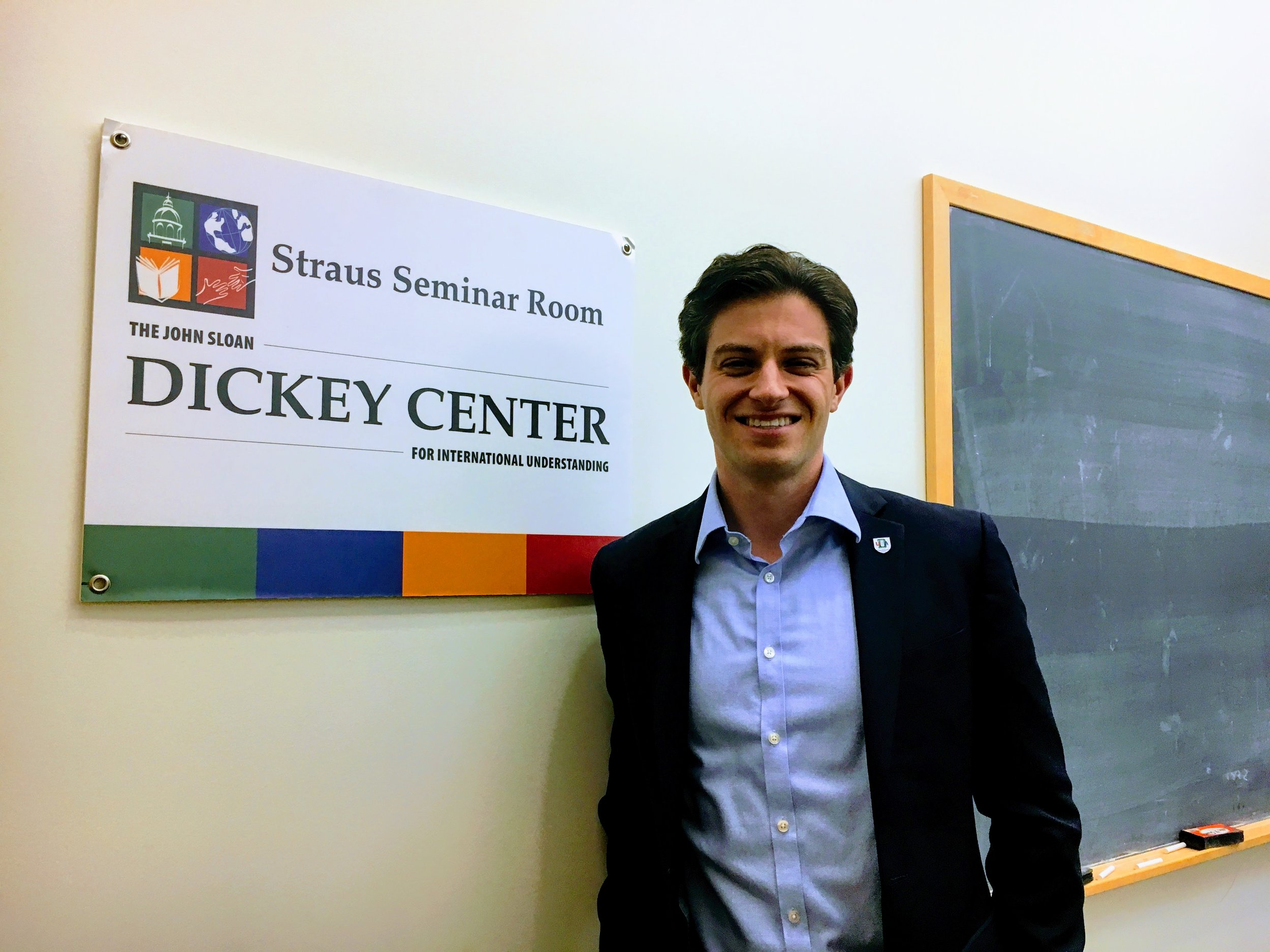 Nathan speaking at the Dickey Center for International Understanding as part of his work as President of the Dartmouth Uniformed Service Alumni
