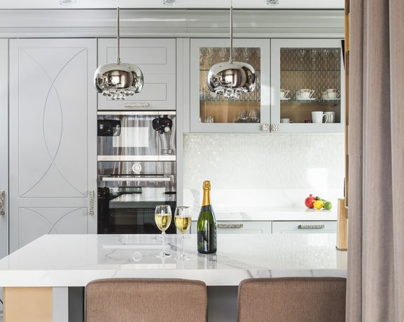 luxury condos in georgetown dc - champagne on the kitchen counter