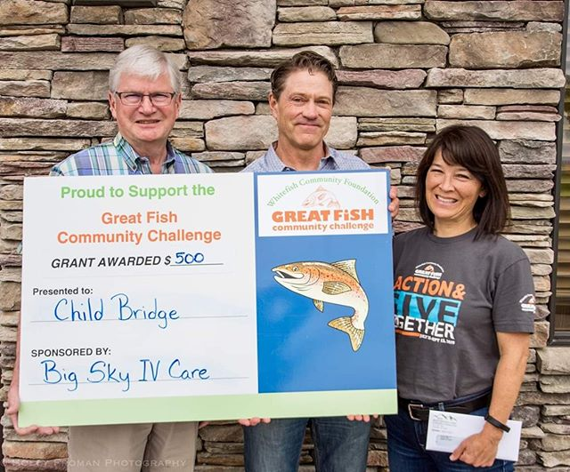 We are so grateful to the Whitefish Community Foundation! Each week during the Great Fish Community Challenge, they award a $500 incentive grant to the nonprofit with the most donors! Because of your generous giving, more families can be found to help abused and neglected children.  Thank you Big Sky IV Care for sponsoring the Week 4 incentive grant! #greatfishcommunitychallenge #whitefishcommunityfoundation  www.childbridgemontana.org/great-fish #adoption #adopted #adopt #heart #love #foster #fostercare #fosterchildren #foster #fostertoadopt #child #parent #family #childbridge #mom #dad #imperfect #willing #available #trauma #traumainformed #fosterlove #fostering #orphancare #thisisus #gettooattached #thisisfostercare #deeplyloved