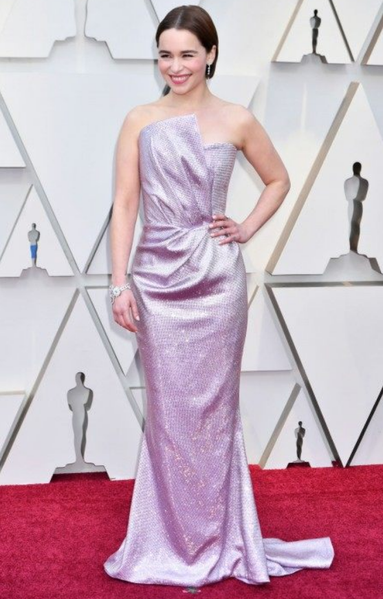 Emelia Clarke - This shape was gorgeous on her, and again, the minimal jewelry really let the dress shine. This was also a perfect interpretation of the pastels trend we're seeing a bit of this awards season. The richer lilac didn't wash her out and was a beautiful contrast to her hair and makeup.